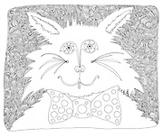 LINE ART pen and ink drawing .line art black and white cat abstract portrait illustration pop art bow tie feline pet anthro-morphized whiskers kitty..Charr Crail, 2011, All Rights Reserved.www.charrcrail.com.916-505-1154Charr Crail Fractals.Fractal art illustration kaleidascope pattern infinity mathematical..Photo/illustration by Charr Crail, 2011, All Rights Reserved.www.charrcrail.com.916-505-1154..