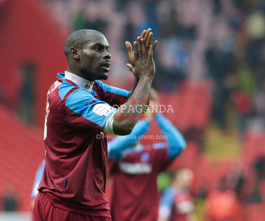 LONDON, ENGLAND - Saturday, March 5, 2011: Tranmere Rovers' Enoch Showunmi shows his thanks to the travelling Tranmere fans after their 1-1 draw during the Football League One match at The Valley. (Photo by Gareth Davies/Propaganda)