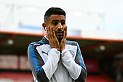 Riyad Mahrez (26) of Leicester City has his hands to his face as he walks off the pitch before the Premier League match between Bournemouth and Leicester City at the Vitality Stadium, Bournemouth, England on 30 September 2017. Photo by Graham Hunt.