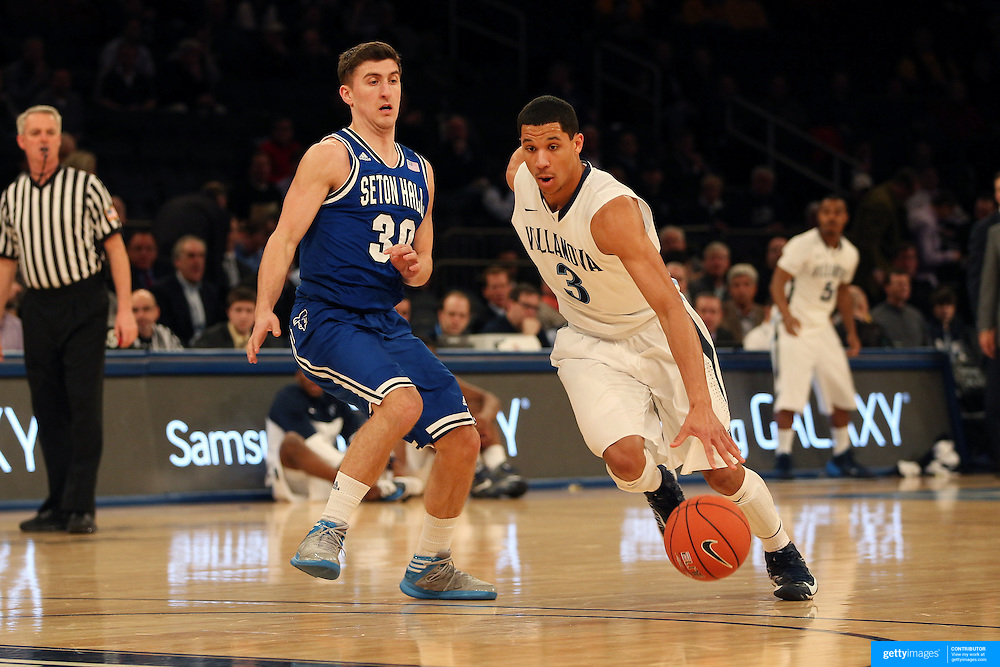 Josh Hart, Villanova, in action during the Villanova Wildcats Vs Seton Hall Pirates basketball game during the Big East Conference Tournament at Madison Square Garden, New York, USA. 12th March 2014. Photo Tim Clayton