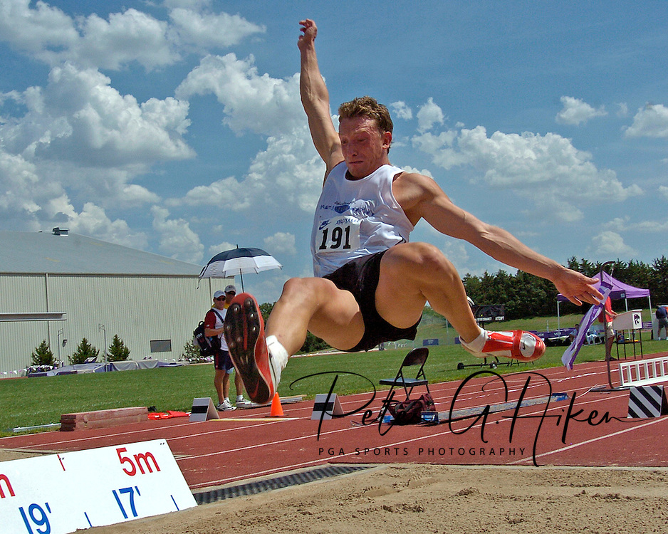Germany's Marian Geisler won the long jump with a jump of 7.45 meters, at the Nike Combined Events Challenge at the R.V. Christian Track Complex on the campus of Kansas State University in Manhattan, Kansas, August 5, 2006.