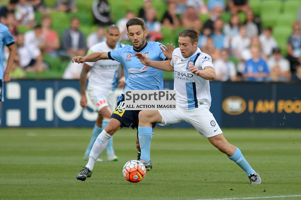 Milos Ninkovic of Sydney FC, Jacob Melling of Melbourne City - Hyundai A-League, January 2nd 2016, RD13 match between Melbourne City FC V Sydney FC at Aami Park, Melbourne, Australia in a 2:2 draw. © Mark Avellino | SportPix.org.uk