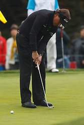 Feb 11, 2012; Pebble Beach CA, USA; Phil Mickelson putts on the third hole during the third round of the AT&T Pebble Beach Pro-Am at Pebble Beach Golf Links. Mandatory Credit: Jason O. Watson-US PRESSWIRE