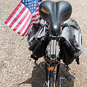 Bicycle with American flag during a July 4th ride in Tucson, Arizona. Bike-tography by Martha Retallick.
