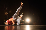 British-Brazilian choreographer Jean Abreu has spent half his life in Brazil and the other half in Britain. His new dance work Solo for Two sees him explore how this dual identity, formed in-between different cultures and dance languages, is created by cycles of loss, letting go and new beginnings. <br /> <br /> Performers Jean Abreu and Rita Carpinteiro are joined by a robot called Macheba who mirrors, observes and interacts with the dancers. ©Tony Nandi 2018