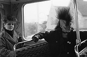 Chigwell Punk Girls on Bus, Chigwell, London, UK, 1980s.