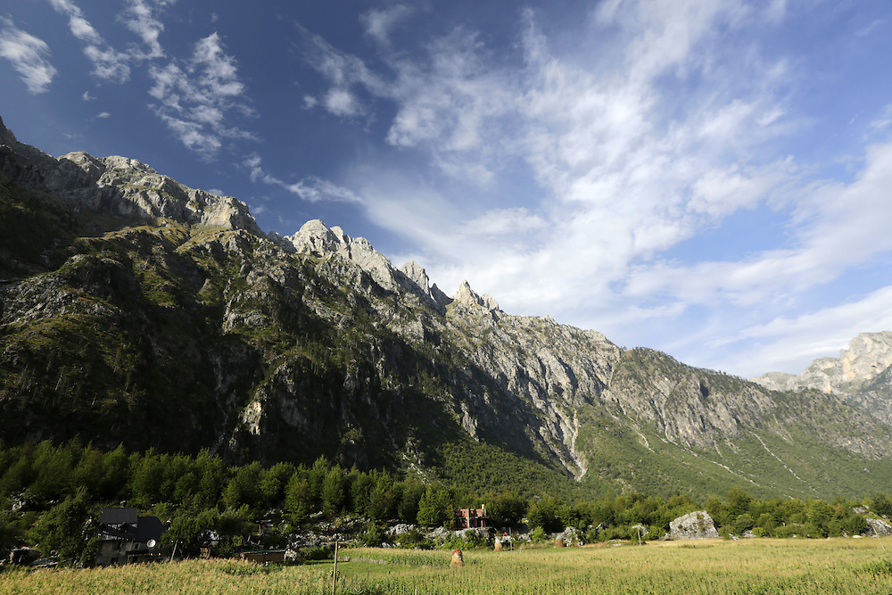 Agricultural fields at Valbona valley, Albania.