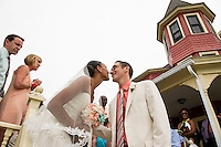 Jen and Tony's Wedding Day.  Congratulations on the Porch.  York, Maine.  ©2015 Karen Bobotas Photographer