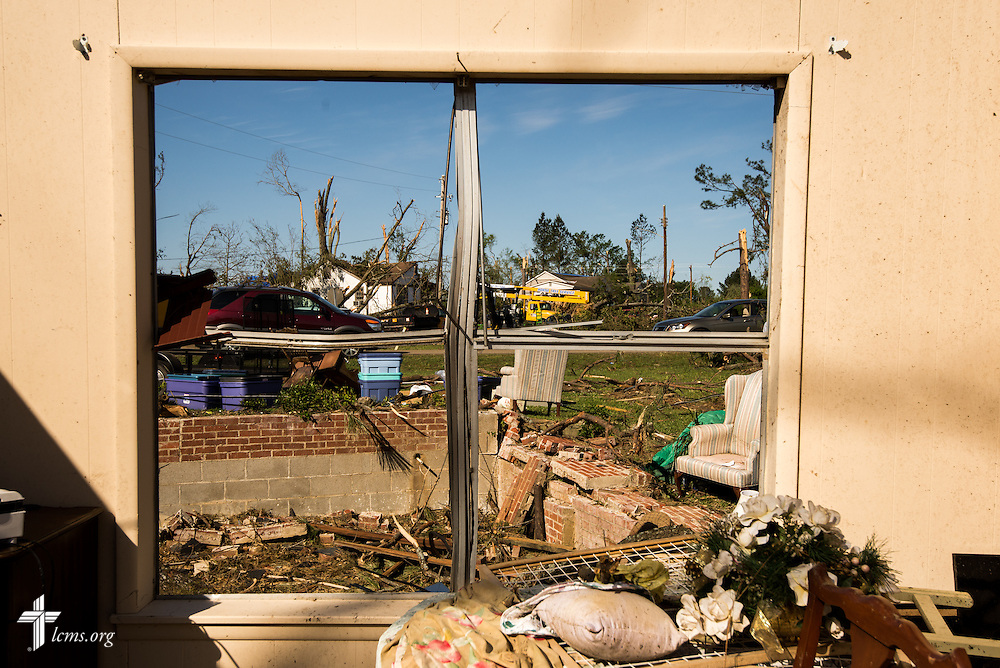 Tornado damage is seen from the window of Connie Lambert's home in Tupelo, Miss., on Friday, May 2, 2014. LCMS Communications/Erik M. Lunsford