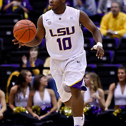 November 30, 2010; Baton Rouge, LA, USA; LSU Tigers guard Andre Springer (10) during the first half against the Houston Cougars at the Pete Maravich Assembly Center.  Mandatory Credit: Derick E. Hingle