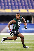 INDIANAPOLIS, IN - FEBRUARY 28: Von Miller #19 of Texas A&M participates in a drill during the 2011 NFL Scouting Combine at Lucas Oil Stadium on February 28, 2011 in Indianapolis, Indiana. (Photo by Joe Robbins) *** Local Caption *** Von Miller