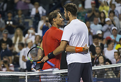 TORONTO, Aug. 12, 2018  Karen Khachanov(R) of Russia congratulates Rafael Nadal of Spain after their semifinal match of men's singles at the 2018 Rogers Cup in Toronto, Canada, Aug. 11, 2018. Rafael Nadal of Spain won 2-0. (Credit Image: © Zhz/Xinhua via ZUMA Wire)