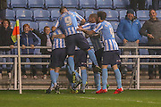 Coventry City celebrate Coventry city midfielder, on loan from Liverpool, Ryan Kent   goal during the Sky Bet League 1 match between Coventry City and Barnsley at the Ricoh Arena, Coventry, England on 3 November 2015. Photo by Simon Davies.