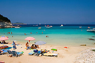 People on Vrika Beach, Anti-Paxos, Ionian Islands, Greece