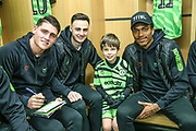 Mascot with players during the EFL Sky Bet League 2 match between Forest Green Rovers and Walsall at the New Lawn, Forest Green, United Kingdom on 8 February 2020.