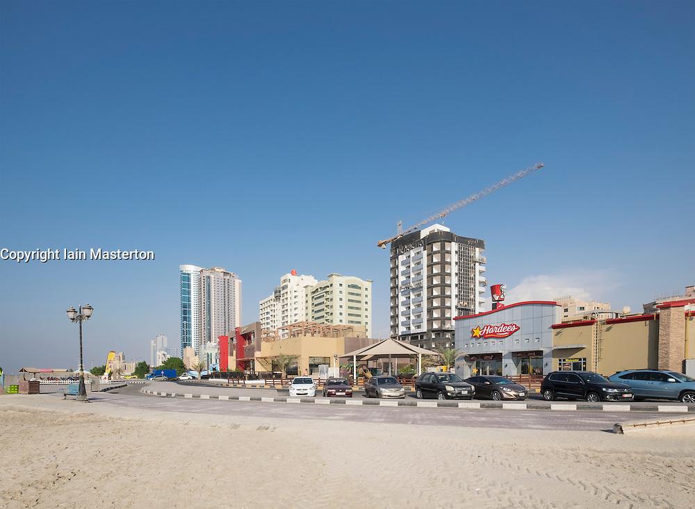 Modern restaurant and cafe buildings on Corniche in Ajman emirate in United Arab Emirate