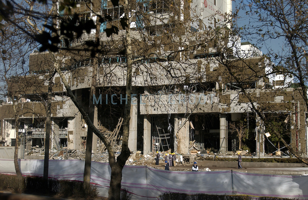 ISTANBUL, TURKEY - 22-11-2003: Aftermath of the Istanbul bombings on November 20. --The damaged building of the HSBC bank--