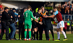 BURNLEY, ENGLAND - Saturday, February 23, 2019: Tottenham Hotspur's assistant manager Jesus Perez is pushed away by the assistant referee after the FA Premier League match between Burnley FC and Tottenham Hotspur FC at Turf Moor. Tottenham Hotspur lost 2-1. (Pic by David Rawcliffe/Propaganda)