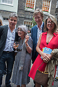 HUGO DE FERRANTI; ANNE CAREY; JAMES HOLLAND-HIBBERT; SARAH BRAKA, Elliott and Thompson host a book launch of How the Queen can Make you Happy by Mary Killen.- Book launch. The O' Shea Gallery. St. James's St. London. 20 June 2012.