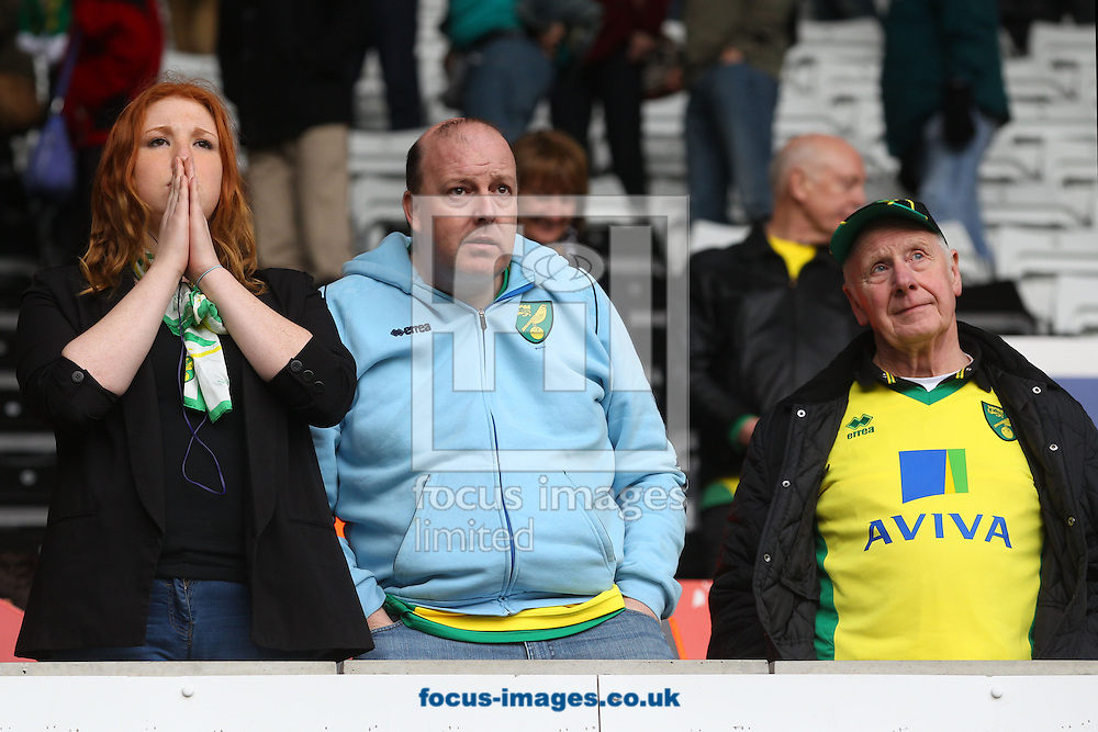Dejected looking Norwich fans at the end of the Barclays Premier League match at the Liberty Stadium, Swansea<br /> Picture by Paul Chesterton/Focus Images Ltd +44 7904 640267<br /> 29/03/2014