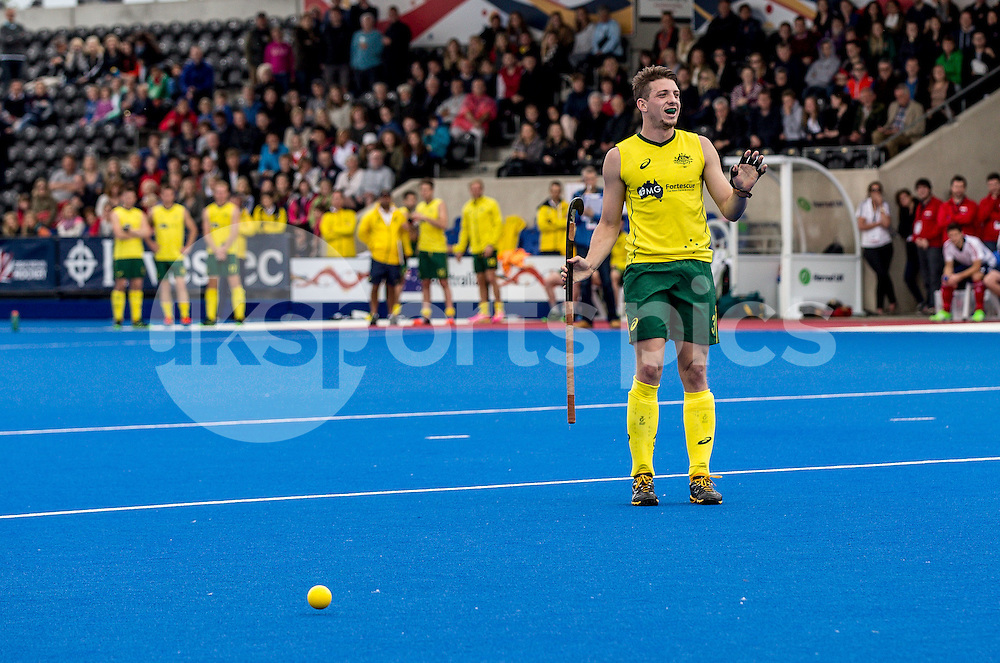 Simon Orchard of Australia during Great Britain v Australia Hockey Ashes Match at the Lee Valley Hockey & Tennis Centre, Olympic Park, London, England on 13 June 2015. Photo by Liam McAvoy.