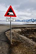 Warning sign against Polar Bears.  Longyearbyen, Spitsbergen, Svalbard.