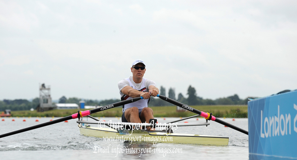 Eton Dorney, Windsor, Great Britain,..2012 London Olympic Regatta, Dorney Lake. Eton Rowing Centre, Berkshire[ Rowing]...Description; USA M1x Ken JURKOWSKI.   Dorney Lake. 13:20:19  Tuesday  31/07/2012 [Mandatory Credit: Peter Spurrier/Intersport Images]  .