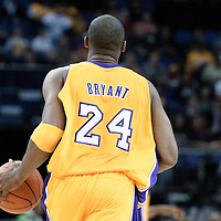 04 October 2010: Los Angeles Lakers guard Kobe Bryant #24 brings the ball upcourt during the Minnesota Timberwolves 111-92 victory over the Los Angeles Lakers, during 2010 NBA Europe Live, at the O2 Arena in London, England.