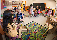 "Children enjoy exploring the rooms of the Boys and Girls Club of the Lakes Region as they begin their first week in their new ""home"" on North Main Street in Laconia.  (Karen Bobotas/for the Laconia Daily Sun)"