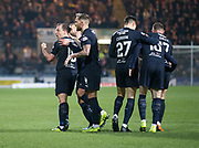 22nd February 2019, Dens Park, Dundee, Scotland; Ladbrokes Premiership football, Dundee v Hibernian; Paul McGowan of Dundee celebrates after scoring for 1-1 in the 35th minute