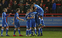 Ivan Toney of Peterborough United is mobbed by team-mates after scoring his third goal of the game - Mandatory by-line: Joe Dent/JMP - 29/12/2018 - FOOTBALL - Wham Stadium - Accrington, England - Accrington Stanley v Peterborough United - Sky Bet League One