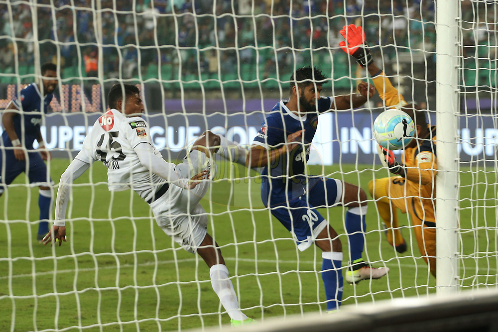 Mohammed Rafi of Chennaiyin FC scores for Chennaiyin FC during match 6 of the Hero Indian Super League between Chennaiyin FC and NorthEast United FC held at the Jawaharlal Nehru Stadium, Chennai, India on the 23rd November 2017<br /> <br /> Photo by: Ron Gaunt / ISL / SPORTZPICS