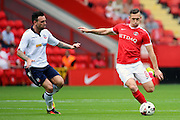 Charlton Athletic midfielder Andrew Crofts (8) holding off Bolton Wanderers midfielder Mark Davies (16) during the EFL Sky Bet Championship match between Charlton Athletic and Bolton Wanderers at The Valley, London, England on 27 August 2016. Photo by Matthew Redman.