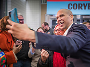 20 DECEMBER 2019 - SIOUX CITY, IOWA: US Senator CORY BOOKER (D-NJ) takes a selfie with a woman after speaking at a town hall type meeting at the Sioux City Convention Center in Sioux City. Sen Booker is on a bus tour across Iowa to support his candidacy for the US Presidency. Iowa traditionally holds the first event of the presidential election cycle. The Iowa caucuses are Feb. 3, 2020.       PHOTO BY JACK KURTZ