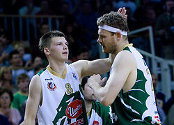 Jaka Klobucar and Miha Zupan of Olimpija at third finals basketball match of Slovenian Men UPC League between KK Union Olimpija and KK Helios Domzale, on June 2, 2009, in Arena Tivoli, Ljubljana, Slovenia. Union Olimpija won 69:58 and became Slovenian National Champion for the season 2008/2009. (Photo by Vid Ponikvar / Sportida)