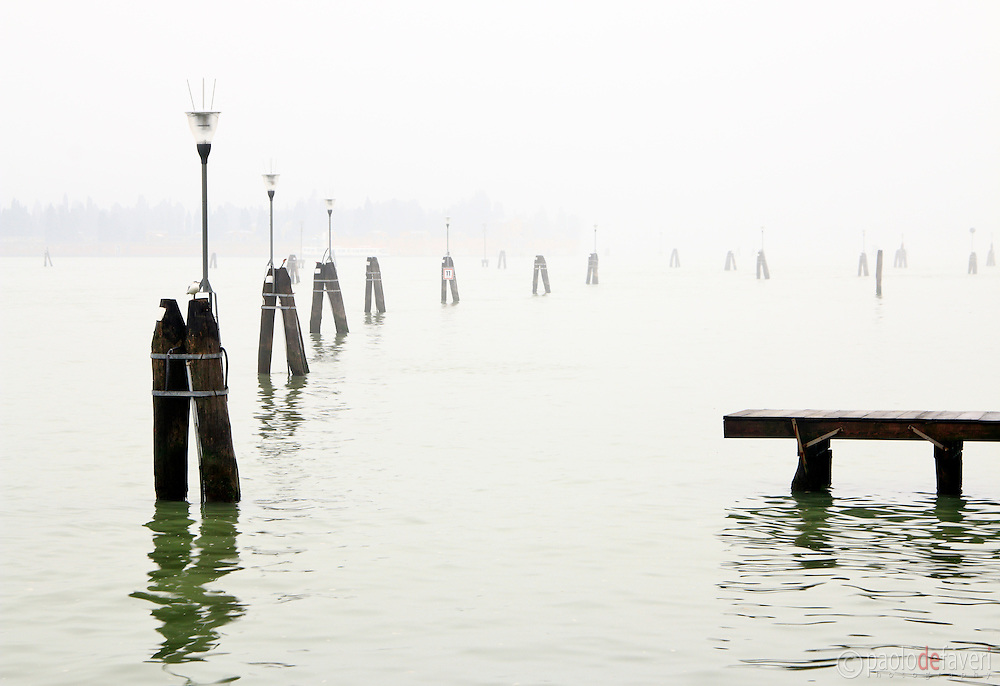 A foggy morning at Fondamenta Nove, the waterfront walkway on the northern edge of Venice