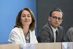 June 27, 2017 - Berlin, Germany - Justice Minister Heiko Maas (R) and Family Minister Katarina Barley (L) attend a news conference to illustrate the work of the party during the last legislation at Bundespressekonferenz in Berlin, Germany on June 27, 2017. (Credit Image: © Emmanuele Contini/NurPhoto via ZUMA Press)