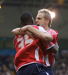 WEST BROMWICH, ENGLAND - Saturday, December 15, 2007: Charlton's Izale McLeod celebrates scoring the equaliser against West Bromwich Albion with team-mate Luke Varney during the League Championship match at the Hawthorns. (Photo by David Rawcliffe/Propaganda)