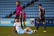 Coventry City midfielder Vladimir Gadzhev (13) gets injured during the The FA Cup match between Coventry City and Morecambe at the Ricoh Arena, Coventry, England on 15 November 2016. Photo by Simon Davies.