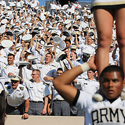 Army supporters and cheerleaders cheer on their team during the Yale V Army, Football match at Yale Bowl, New Haven. Yale won the match 49-43 in overtime in front of a crowd of 34,142. New Haven, Connecticut, USA. 27th September 2014. Photo Tim Clayton