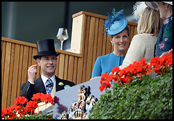 Prince Edward and The Countess of Wessex in the Royal box at the Opening day of Royal Ascot 2013 Ascot, United Kingdom<br /> Tuesday, 18th June 2013,<br /> Picture by Andrew Parsons / i-Images