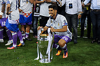 Marco Asensio of Real Madrid celebrates the winning of the Champions League during the UEFA Champions League Final match between Real Madrid and Juventus at the National Stadium of Wales, Cardiff, Wales on 3 June 2017. Photo by Giuseppe Maffia.<br /> <br /> Giuseppe Maffia/UK Sports Pics Ltd/Alterphotos