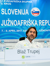 Blaz Trupej, Captain during press conference of Slovenian National Men Tennis Team before Davis Cup against South Africa Republic, on March 30, 2017 in Ljubljana, Slovenia. Photo by Vid Ponikvar / Sportida
