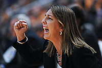 Dec 28, 2011; Knoxville, TN, USA; Old Dominion Lady Monarchs head coach Karen Barefoot shouts to her team during the first half of the game against the Tennessee Lady Volunteers at Thompson Boling Arena. Mandatory Credit: Randy Sartin-US PRESSWIRE