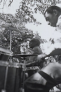 Professor Longhair playing in Congo Square in New Orleans at the first Louisiana Jazz and Heritage Festival, 1971