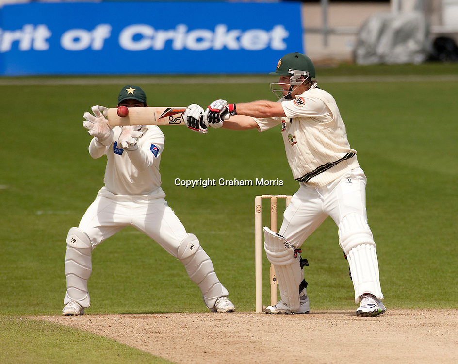 Tim Paine's last shot as he's caught off the bowling of Danish Kaneria during the second MCC Spirit of Cricket Test Match between Pakistan and Australia at Headingley, Leeds.  Photo: Graham Morris (Tel: +44(0)20 8969 4192 Email: sales@cricketpix.com) 23/07/10