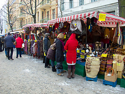 Busy street market during winter in Prenzlauer Berg  in Berlin Germany