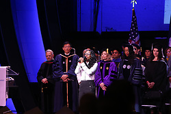 June 1, 2017 - Manhattan, New York, United States - After more than a week of protest & controversy, CUNY School of Public Health held graduation ceremonies in Harlem's Apollo Theater with former president of the Arab American Association of New York, Linda Sarsour, giving a rousing keynote speech...In addition to Ms. Sarsour, Mayor Bill de Blasio's wife, Chirlane McCray received an honorary degree for her work in mental health, & NYC Commissioner for Health, Mary Travis Bassett was honored as the Dean's Champion of Public Health award...Outside, along 125th Street, several dozen protesters representing pro & con positions held vigil. (Credit Image: © Andrew Katz/Pacific Press via ZUMA Wire)
