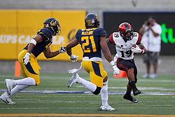 BERKELEY, CA - SEPTEMBER 12:  Running back Donnel Pumphrey #19 of the San Diego State Aztecs is pursued by linebacker Hardy Nickerson #47 of the California Golden Bears and safety Stefan McClure #21 during the first quarter at California Memorial Stadium on September 12, 2015 in Berkeley, California. The California Golden Bears defeated the San Diego State Aztecs 35-7. (Photo by Jason O. Watson/Getty Images) *** Local Caption *** Donnel Pumphrey; Hardy Nickerson; Stefan McClure
