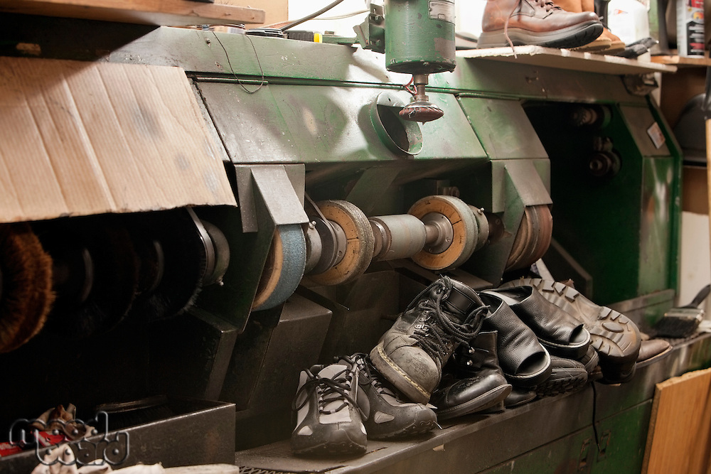 Group of shoes by polishing machinery